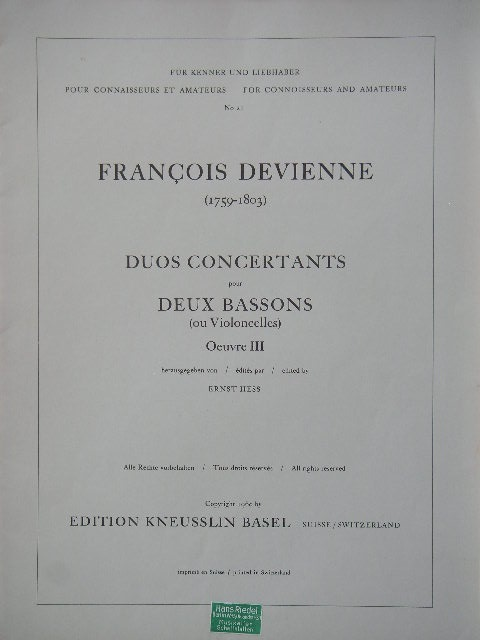 Image for Duos Cencertants pour Deux Bassons