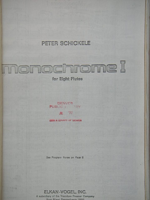 Image for Monochrome I for Eight Flutes