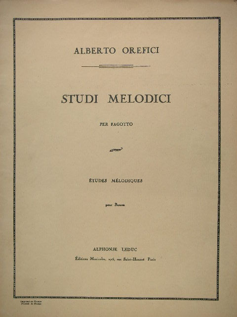 Image for Studi Melodici per Fagotto