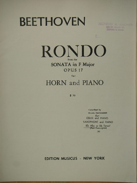 Image for Rondo from Sonata in F Major Op. 17