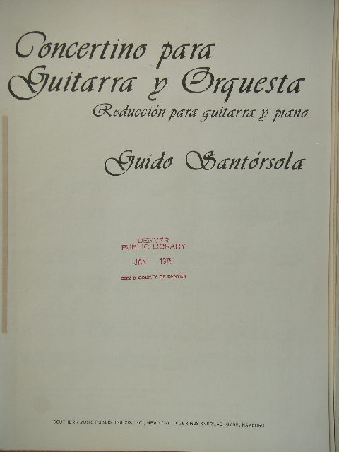 Image for Concertino for Guitar and Orchestra