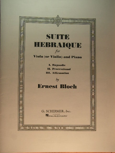 Image for Suite Hebraique for Viola (or Violin) and Piano