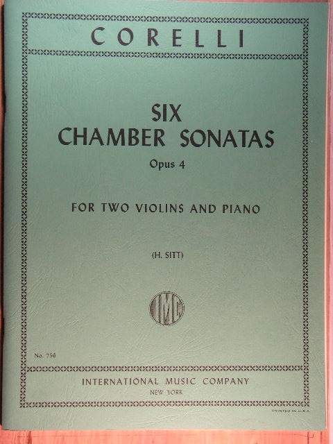 Image for Six Chamber Sonatas Op. 4 (Two Violins/Piano)