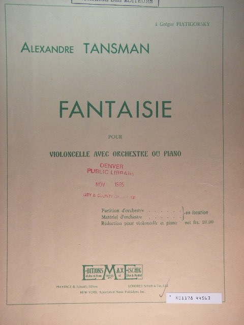 Image for Fantaisie [Cello with Orchestra or Piano]