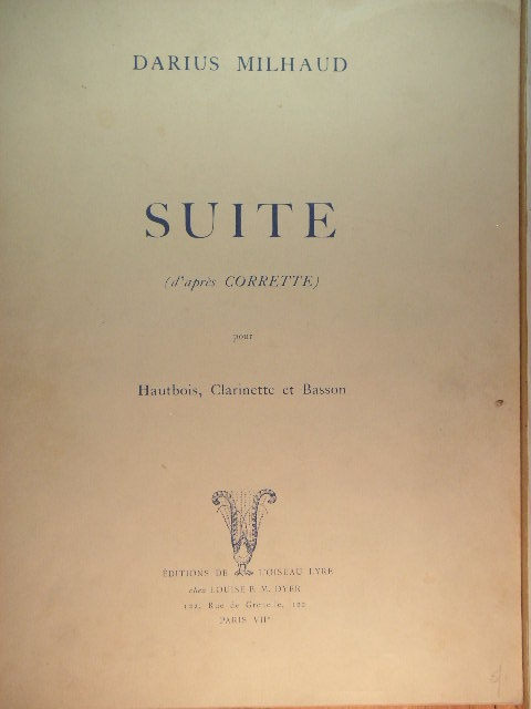 "Image for ""Suite (d'apres Corrette) for Oboe, Clarinet, and Bassoon"""