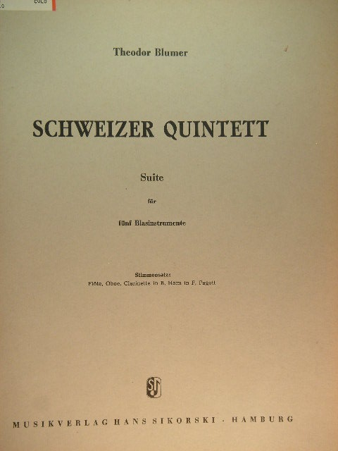 Image for Schweizer Quintett (Suite for Wind Instruments)