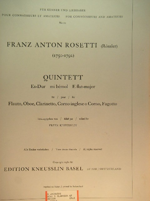 Image for Quintett [for Winds]
