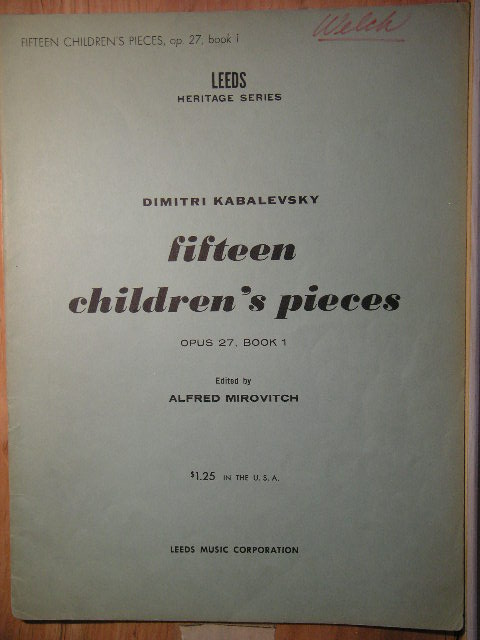 Image for Fifteen Children's Pieces Op. 27 (Book 1)
