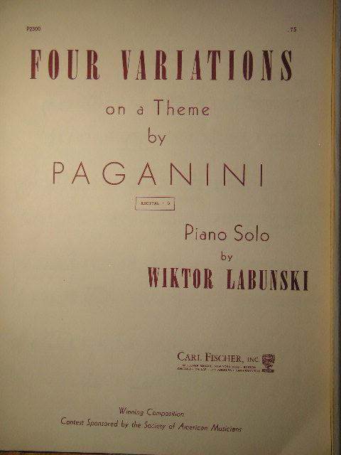 Image for Four Variations on a Theme by Paganini