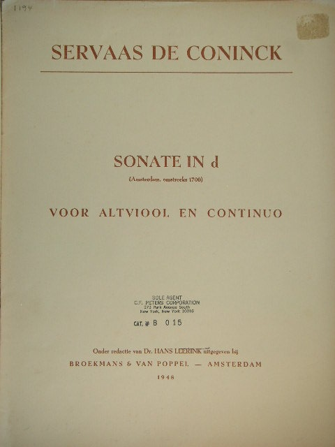 Image for Sonate in D for Viola and Continuo
