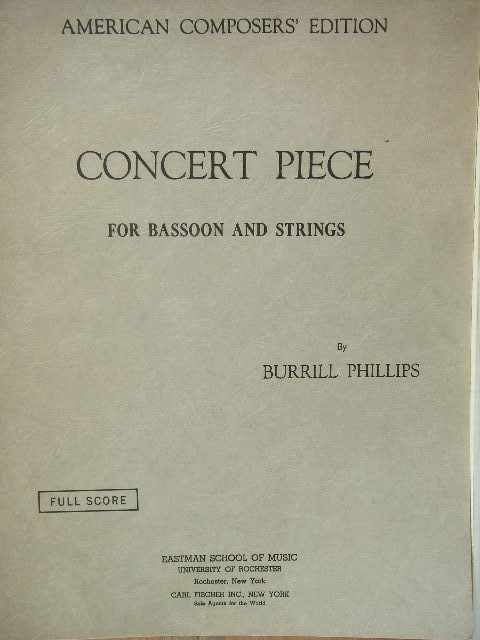 Image for Concert Piece for Bassoon and Strings